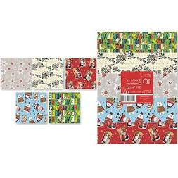 10 x 50cm Xmas Christmas Wrapping Paper Sheets Gift Wrap Pre