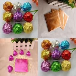 100Pcs Square Pure Color Aluminum Foil Wrapping Chocolate Ca