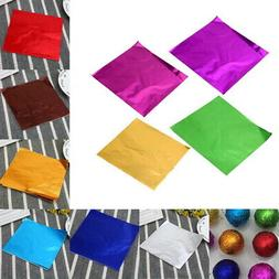 100x Aluminum Foil Wrapper Chocolate Paper Candy Wrapping Ti