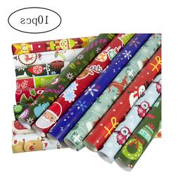 10Pcs Christmas Gift Wrap Paper Christmas Wrapping Paper Bun