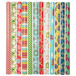 12 Pack Christmas Wrapping Paper Rolls Bulk Set Xmas & Holid