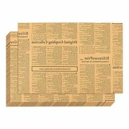 12-Pack Wrapping-Packing Paper Newspaper Theme Brown Kraft P