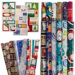 12 Rolls Variety Christmas Wrapping Paper + 100 Gift Tags Se