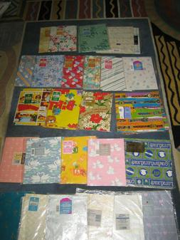 12 Vintage Wrapping Paper Squares Gift Wrap NEW Sealed Birth