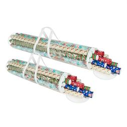 2 Pack 31 - 40 Inch Christmas Wrapping Paper Storage Bag Tub