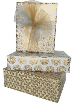 "3-Pack 30"" x 120"" Gift Wrapping Paper Gold Prints for Birthd"