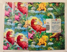 3 PKS VINTAGE AMERICAN GREETINGS CHILD DINOSAUR GIFT WRAP WR