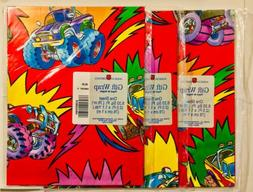 3 PKS VTG AMERICAN GREETINGS MONSTER TRUCK GIFT WRAP WRAPPIN
