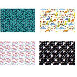 4pcs Gift Wrapping Paper Roll Flamingos/Dinosaurs/Unicorns D