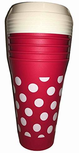 5 reusable go cups polka
