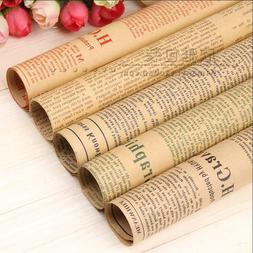5 SHEETS Newspaper DIY Gift Wrapping Paper Flower Craft Pape