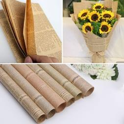 5pcs Newspaper Gift Flower Wrapping Paper Party Decor Vintag