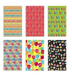 6 Rolls Premium Birthday or All Occasion Gift Wrap 120sq ft