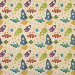 Blast Off Boys in Outer Space Kraft Present Gift Wrap Wrappi