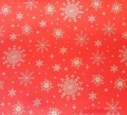 Current Silver Snowflakes on Red Foil Wrapping Paper  **FREE
