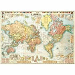 Detailed World Map Vintage Style Poster Decorative Paper Eph