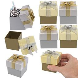 For Keeps  Small Holiday Gift Boxes Silver Gold Lid Bow Chri