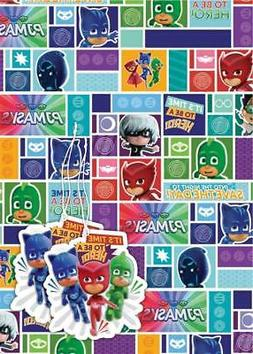 PJ Masks Gift Wrap & Tags - 2 Sheets of Wrapping Paper & 2 t