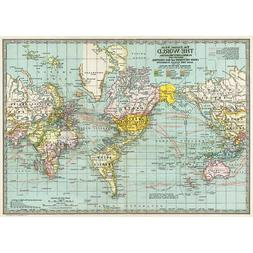 Political World Map Vintage Style Poster Decorative Paper Ep