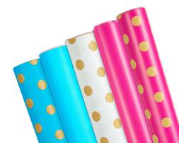 Wrapping Paper, 5-Roll, Polka Dots/Pink/Blue Designs