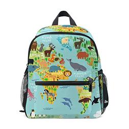 Age 3-8 World Map With Animals Toddler Preschool Backpack, C
