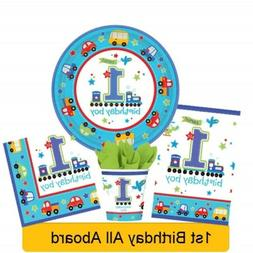 ALL ABOARD 1st First Age 1 Birthday Party Range - Tableware
