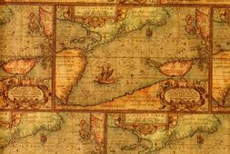 Antique Map Gift Wrap 2' x 8'