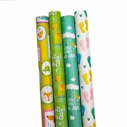 B-THERE Baby Shower Gift Wrap Wrapping Paper for Boys, Girls