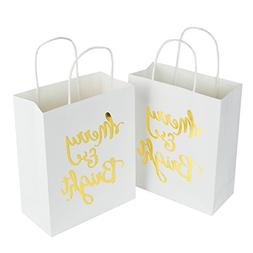 """LaRibbons Medium Size Gift Bags - Gold Foil""""Merry Bright"""" Wh"""