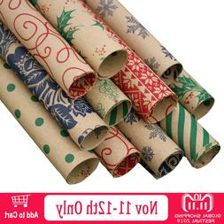 Behogar 10 Roll Double-sided Print Xmas Gift <font><b>Wrappi