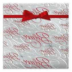 Believe Silver Jumbo Christmas Rolled Gift Wrap - 1 Giant Ro