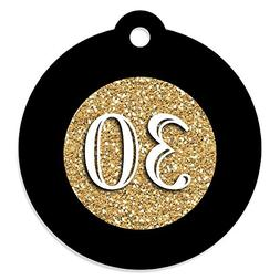 Adult 30th Birthday - Gold - Birthday Party Favor Gift Tags