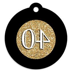 Adult 40th Birthday - Gold - Birthday Party Favor Gift Tags