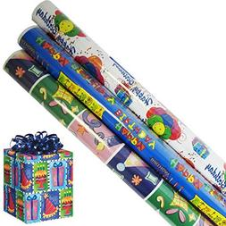 Birthday Wrapping Paper Gift Wrap in 3 Bright Styles 2.5 ft