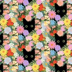 Black Cat Hiding in Spring Flowers Premium Roll Gift Wrap Wr