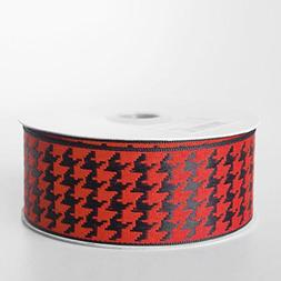 Black/Red Houndstooth Wired Ribbon, 10 Yards, 1-1/2-inch