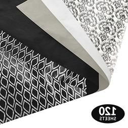 Black and White Gift Wrapping Tissue Paper Set - 120 Sheets