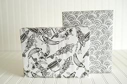 Black and White Koi Fish and Scales Designer Gift Wrap  - Re