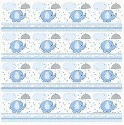 Blue Baby Boy Shower Party SWEET UMBRELLA ELEPHANT GIFT WRAP