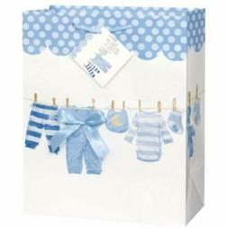 Blue Bow Clothesline Boy Baby Shower Gift Bag