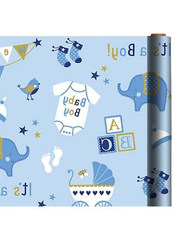 BABY BOY JUMBO WRAPPING PAPER ROLL GIFT WRAP ANY OCCASION 40