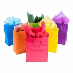 12pk Assorted Bright Neon Colored Party Paper Gift Bags Wrap