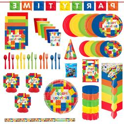 Building Block Birthday Party Childrens Tableware Plates Nap