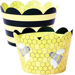 Bumble Bee Cupcake Wrappers, 36 Reversible Yellow and Black