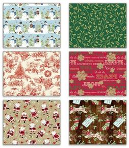 Bundle 6 Rolls Christmas Gift Wrapping Paper - Holiday Memor