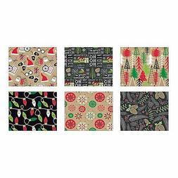 Bundle of 6 Rolls of Christmas Gift Wrapping Paper - Contemp