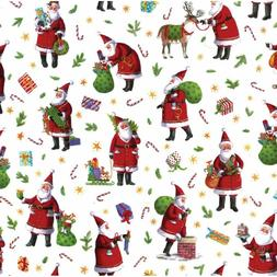 Caspari Busy Santa Continuous Gift Wrapping Paper Roll, 8-Fe