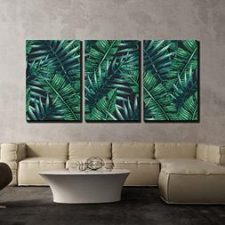 wall26 - 3 Piece Canvas Wall Art - Watercolor Tropical Palm