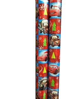 Disney / PIXAR ~ CARS ~ RED Christmas Wrapping Paper 40 Sq.