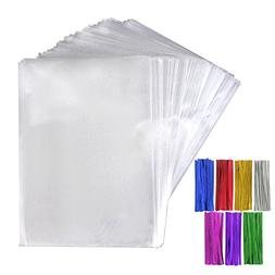Tomnk 200pcs Cellophane Treat Bags Clear Candy Bags  with 20